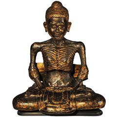 Early 18th Century, Gilt Bronze Vajrasana Fasting Buddha in Dhyana Mudra, Thai