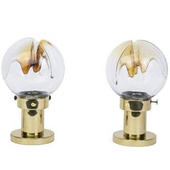 Pair of Mid-Century Modernist Mazzega Table Lamps with Murano Glass Orbs