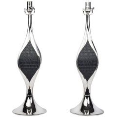 Pair of Mid-Century Modernist Sculptural Chrome Table Lamps by Laurel