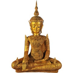 Early 19th Century, Gilt bronze Jumbupati Buddha (Crowned), Thailand