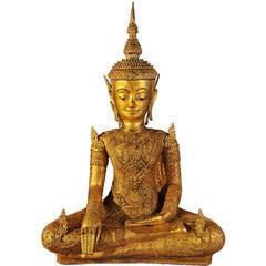 Early 19th Century, Gilt bronze Jumbupati Buddha (Crowned), Thailand