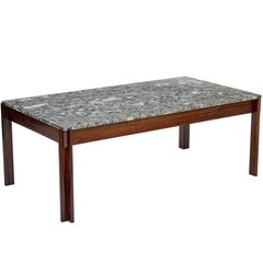 Danish 1970s Rosewood Marble-Top Coffee Table