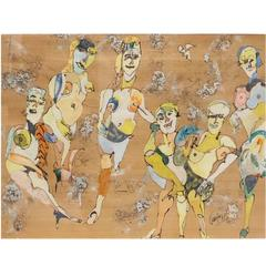 Charles Keeling Lassiter, Abstract Nudes, Mixed Media on Wood, Signed