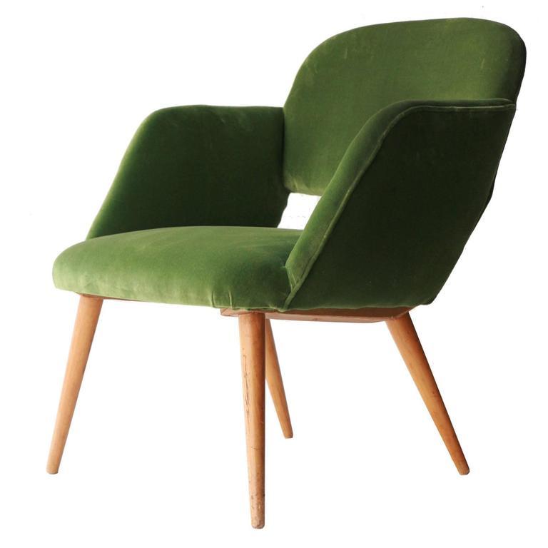 Czech Armchair in Green Velvet. Czech Republic, 1960.