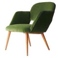 Czech Armchair in Green Velvet. Czech Republic, 1960.