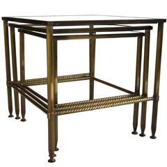 French Maison Jansen/Bagues Brass Nesting Tables, 1950s