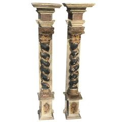 Pair of 17th-18th Century Italian Baroque Columns