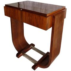 French Art Deco Vanity Console Table with Chrome Base