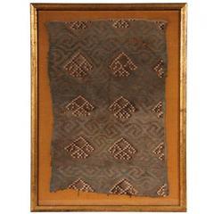 Framed Peruvian Inca Textile Fragment