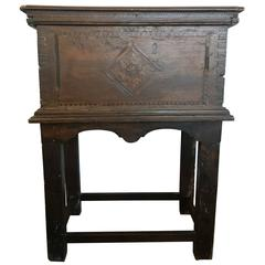 17th Century Italian Walnut Traveling Chest on Stand