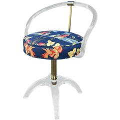 Lucite and Brass Vanity Swivel Chair by Charles Hollis Jones