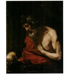 "Simone Cantarini ""Saint Jerome"", Oil on Canvas"