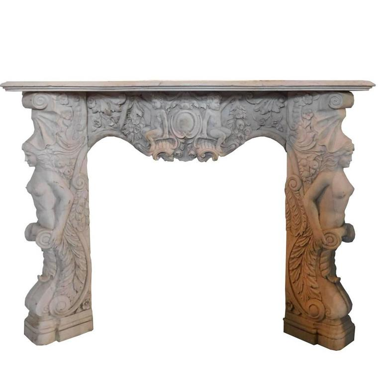 Antique carrara marble fireplace mantel for sale at 1stdibs for Marble mantels for sale