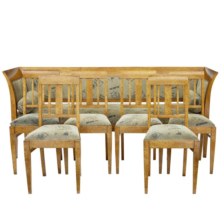 19th Century Sofa and Six Chairs in Birch Root For Sale