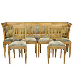 19th Century Sofa and Six Chairs in Birch Root