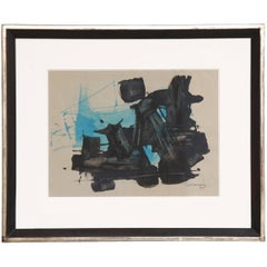 Abstract Painting in Turquois-Black, Signed by Ricardo Santamaria, 1964