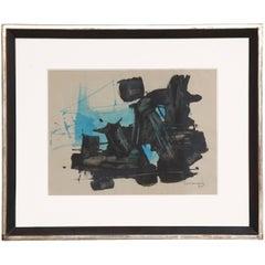 Abstrakte Malerei in Türkis Schwarz, unterzeichnet von Ricardo Santamaria, 1964