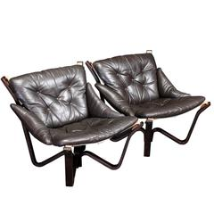 Spider Lounge Chairs by Sigurd Resell in Brown Leather