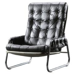 Mid-Century Modern Armchair in Metal and Leather