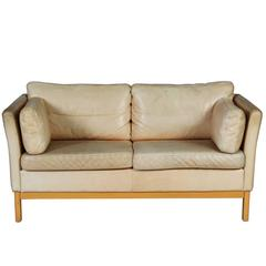 Mid-Century Modern Two-Seat Sofa in Leather