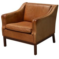 Mid-Century Modern Recliner in Brown Leather