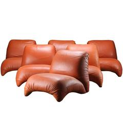 Mid-Century Modern Lounge Chair in Cognac Leather