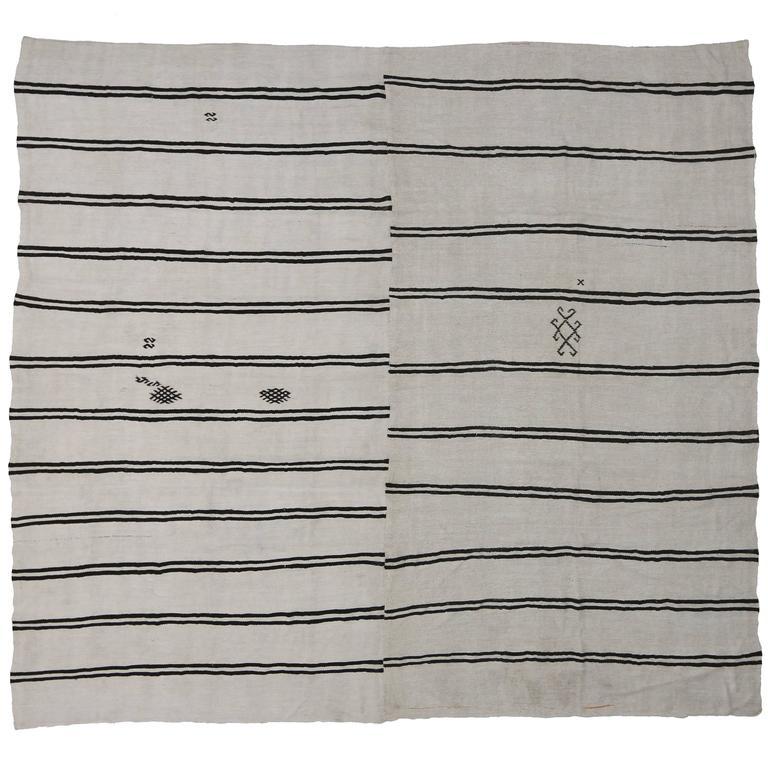 Modern Ivory Black Kilim Rug With Stripes Flat Weave Area