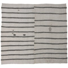 Modernist Style Black and White Striped Kilim Area Rug, Large Flat-weave Rug