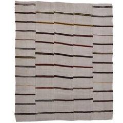 Vintage Striped Kilim Rug with Modernist Style, Large Flat-weave Area Rug