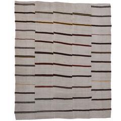 Modern Style Ivory Kilim Rug with Stripes and Minimalist Style, Flatweave Kilim