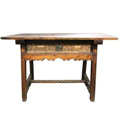 17th Century Spanish Walnut and Oak Trestle Table