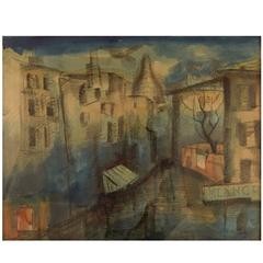 Mogens Vantore: Scenery from Paris Crayon, Pencil and Watercolor on Paper