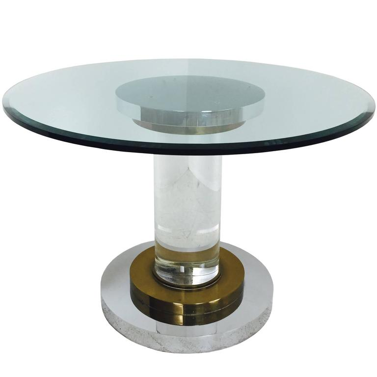 Lucite and Glass Pedestal Dining Table by Romeo Rega