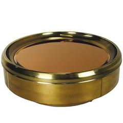 Large-Scale Round Brass and Mirror Coffee Table by Mastercraft