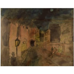 Mogens Vantore, Scenery from Paris. Crayon, pencil and watercolor on paper