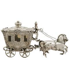 Antique German Silver 'Horse and Carriage' Bon Bon Dish, 1900s