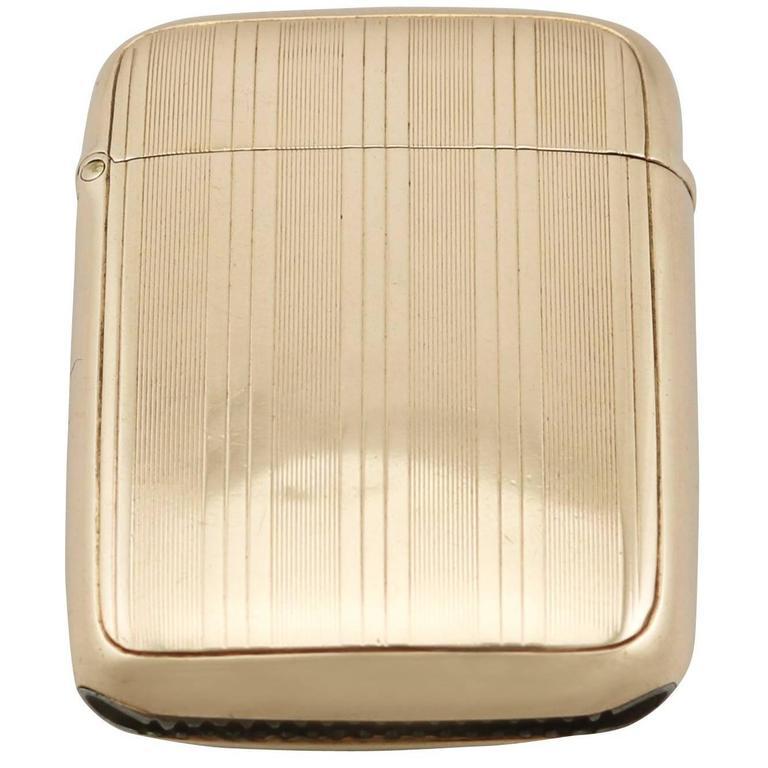 Antique Yellow Gold Vesta Case For Sale