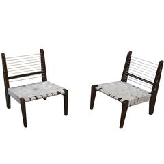Pierre Jeanneret Very Rare Pair of Demountable Armless Chairs