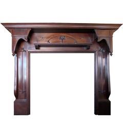 Early 20th Century Art Nouveau Large Mahogany Wood Fireplace Mantel