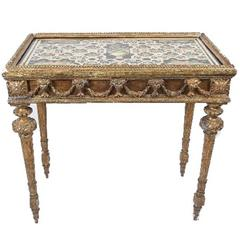 18th Century Italian Gilt Wood and Painted Stone Top Table, circa 1780