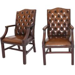 20th Century Leather Gainsborough Style Chairs