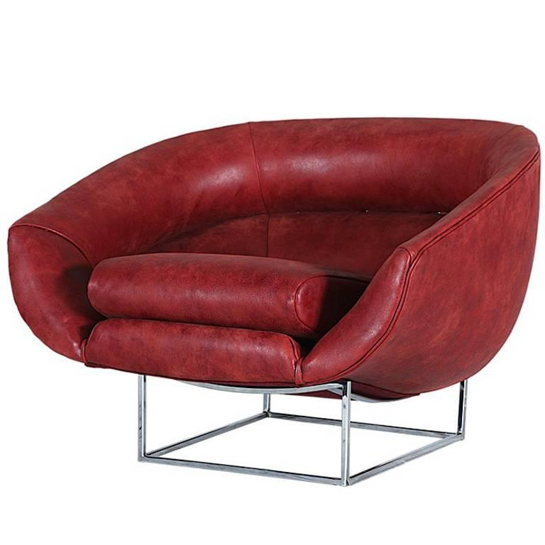 Milo Baughman Leather and Chrome Tub Chair for Thayer Coggin 1