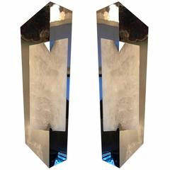 Pair of Modern Rock Crystal Wall Sconces