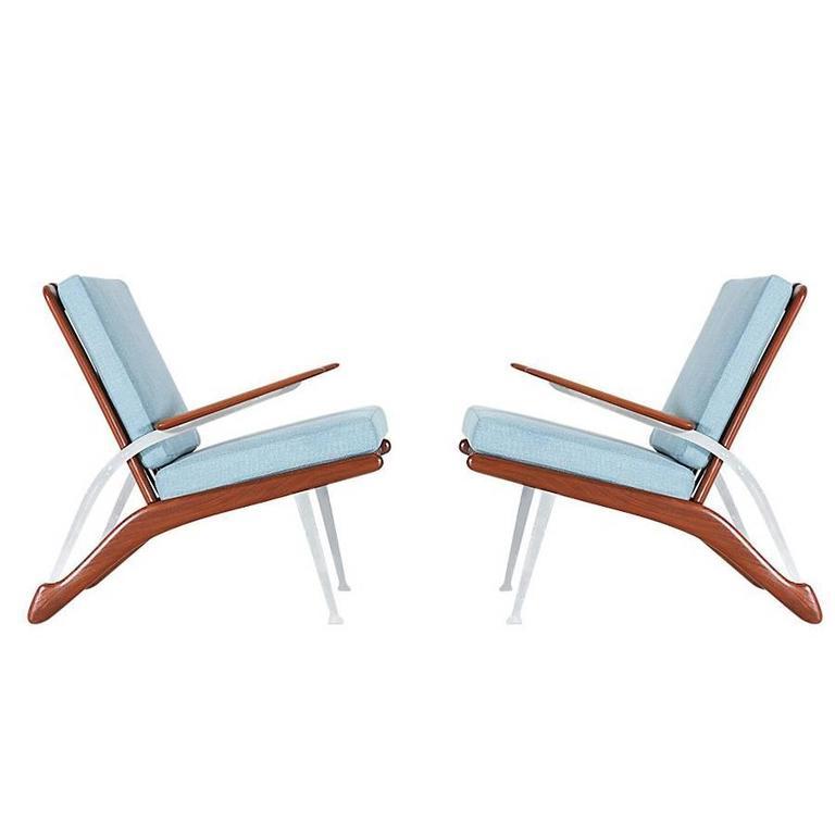 Danish Modern Lounge Chairs with Teak Armrest