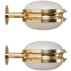 1960s Sergio Mazza Brass 'Gamma' Wall or Ceiling Lights for Artemide