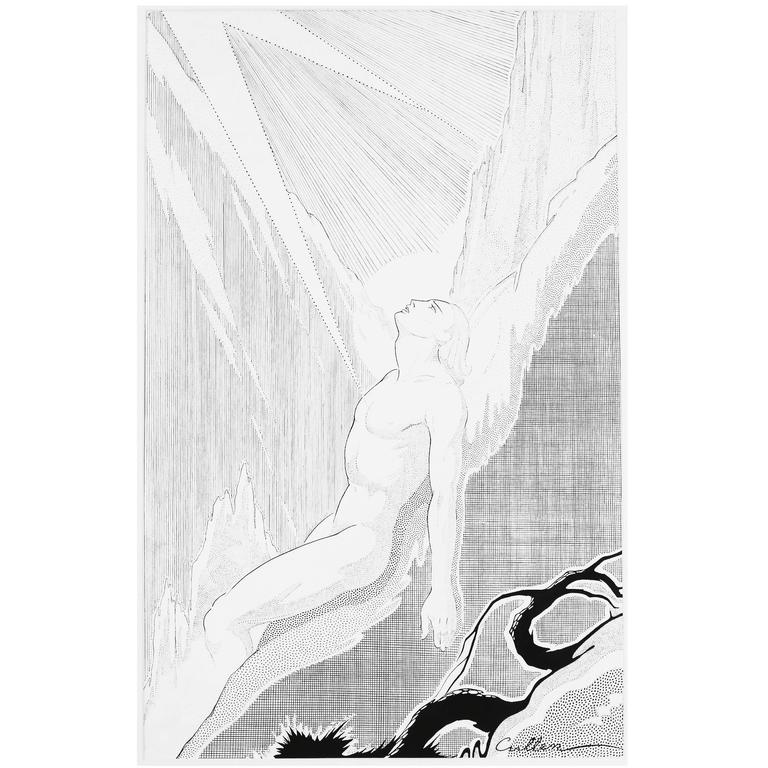 """Looking Heavenward,"" Ink Drawing with Male Nude by Harlem Renaissance Artist"