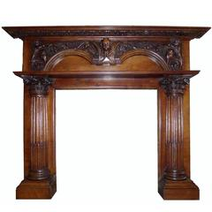 Antique Large Carved Georgian Oak Mantel Fireplace Surround