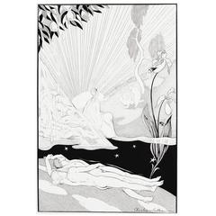 """Paradise Dreamt,"" Important Art Deco Drawing with Male Nudes by Cullen"