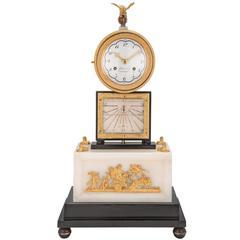 French Early 19th Century White Carrara Marble Quarter Strike Clock and Sundial