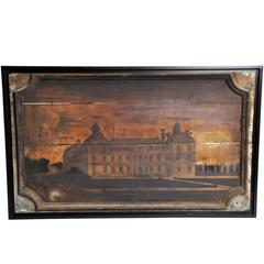 """French """"Boisserie"""" Painting of a Chateau on Walnut Wood"""